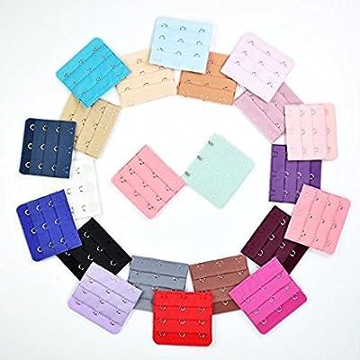 KLOUD City 22 pcs Assorted Colors Women 3-Hook 3 Rows Spacing Bra Extender Strap