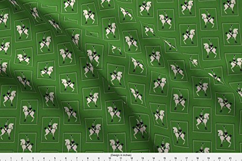 Spoonflower Horse Fabric Deco Polo - Green by Ragan Printed on Performance Piqué Fabric by the Yard (Eco Pique Polo)