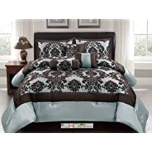 7-Pc Silky Poly-Satin Flocking Damask Floral Square Comforter Set Blue Brown Queen