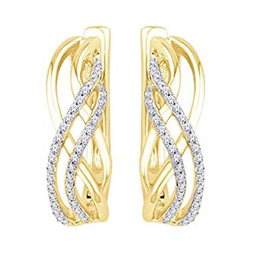 10K Two Tone 1/6 Ct.Tw. Diamond Huggies Earring by Wickersham Closeouts