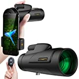 Monocular Telescopes, 12x50 High Power Waterproof Fog-proof Scope for Adults with Cell Phone Photography Adapter and Wireless Camera Shutter Remote Control for Bird Watching Hunting Camping Travelling