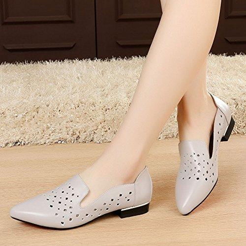 SSBY La Primavera Y El Verano Hollow Calzado Zapatos Zapatos De Cuero Con Punta Plana Pequeña Flat Shoes Casual Shoes Todo El Partido gray