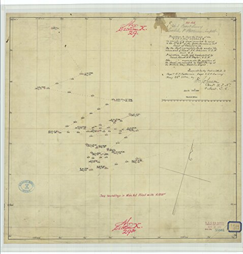Cs Chart (8 x 12 inch 1874 California old nautical map drawing chart of Projection to show the track of the U.S.C.S. Steamer Hassler in search of a shoal reported to exist to the south west of the South Faral)
