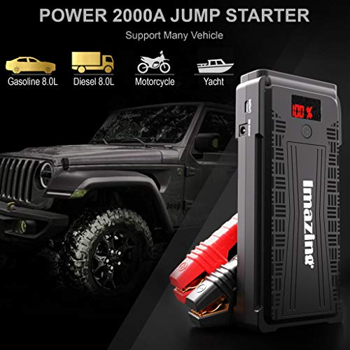 Imazing Portable Car Jump Starter - 2500A Peak 20000mAH (Up to 8L Gas or 8L Diesel Engine) 12V Auto Battery Booster Portable Power Pack with LCD Display Jumper Cables, QC 3.0 and LED Light by Imazing (Image #4)