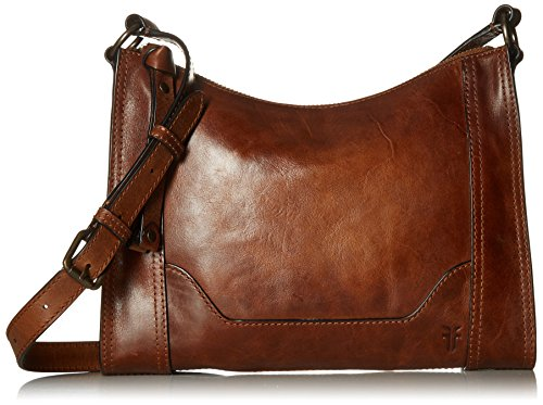 - Frye Melissa Zip Leather Crossbody, Cognac, One Size