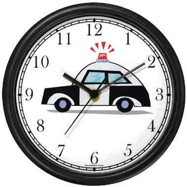 Police Car 1 Wall Clock by WatchBuddy Timepieces (White Frame) ()
