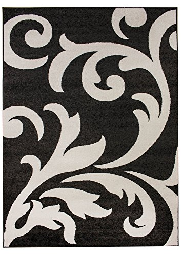 Floral Rug 3x5, Grey & Ivory Contemporary Damask Non-Shedding Stain Resistant Carpet, 3' 3'' X 4' 7