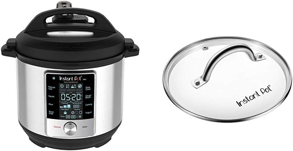 Instant Pot Max Pressure Cooker 9 in 1, Best for Canning with 15PSI and Sterilizer, 6 Qt & Genuine Instant Pot Tempered Glass Lid, 9 in. (23 cm), 6 Quart, Clear