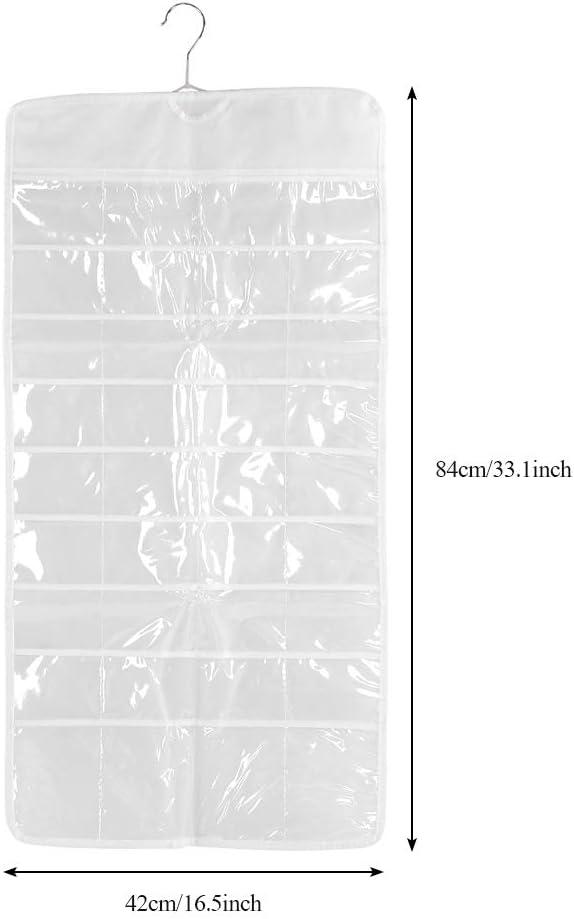 PVC Transparente TOPINCN Organizador de joyer/ía Colgante Transparente Cuelgue Sobre la Puerta Bolsa de Almacenamiento Organizador de Accesorios de joyer/ía Doble Cara 72 Rejillas