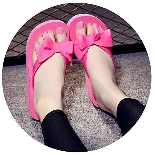 Hju Summer Women Fashion Flip Flop Shoes Bowknot Thick Bottom Non-Slip Sandals Slipper Platform Shoes Chaussure Rose Red