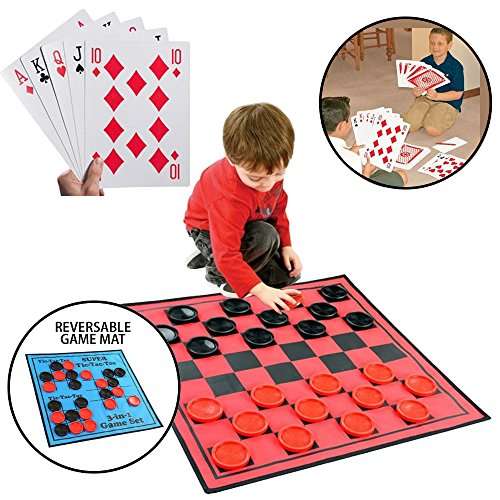 KOVOT Jumbo Game Set – Includes Huge Playing Cards & 3-in-1 Large Reversible Game Mat: Jumbo Checkers, Tic Tac Toe & Super Tic-Tac-Toe