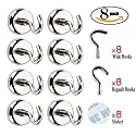 Netany 25LB Heavy Duty Magnetic Hooks With Stickers, Strong Powerful Neodymium Indoor/Outdoor Magnet Hooks - 8 Pack & 16 Hooks