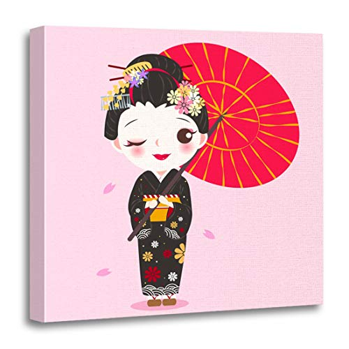 Comic Strip Girl Costumes Makeup - Semtomn Canvas Wall Art Print Kimono