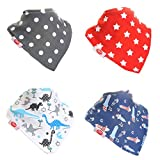 Zippy Fun Baby and Toddler Bandana Bib - Absorbent 100% Cotton Front Dribble Bibs with Adjustable Snaps (4 Pack Gift Set) Uptown Boys