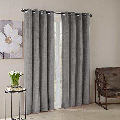 Window Grommet Velvet Panel Home (Grey Curtains for Living Room, Modern Contemporary Grommet Room Darkening Window Curtains for Bedroom, Monroe Solid Velvet Window Curtains, 50X95, 1-Panel Pack)