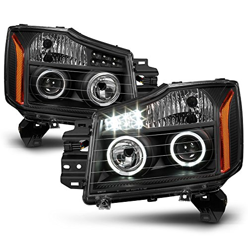 ACANII - For Black LED Halo Projector Headlamps 2004-2015 Nissan Titan 04-07 Armada Headlights Driver + Passenger Side - Nissan Titan Armada Headlamp Headlight