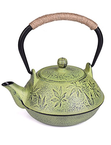 Sotya Japanese tetsubin Cast Iron Teapot Maple Leaf with Stainless Steel Infuser 24 oz Green