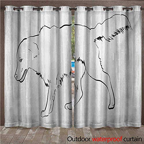 WilliamsDecor Golden Retriever Home Patio Outdoor Curtain Sketch Art Outline of a Dog Thoroughbred Furry Canine Pet Animal W72 x L108(183cm x 274cm)