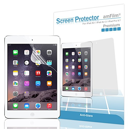 iPad Pro 9.7 inch Screen Protector, amFilm Screen Protector for Apple iPad Air 2, iPad Air Anti-Glare/Anti-Fingerprint with (2-Pack) [in Retail Packaging] (Touch Plastic Screen)
