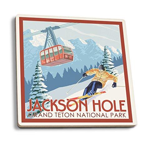 Lantern Press Jackson Hole, Wyoming - Grand Teton National Park - Skiing (Set of 4 Ceramic Coasters - Cork-Backed, Absorbent)