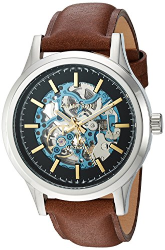 Armitron-Mens-205169BLSVBN-Automatic-Silver-Tone-and-Brown-Leather-Strap-Watch