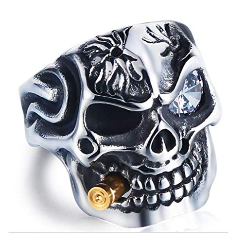 EH-LIFE Mens Retro Skull Smoking Rings Alloy Vintage White Crystal Rings Jewelry Gifts 7 by EH-LIFE (Image #3)