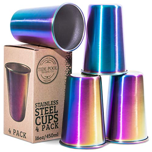 Rainbow Stainless Steel Cups 16 oz 4-Pack | Ideal for Kids & Adults | Reusable Drinking Supplies for Birthday Party, Camping, Travel, Outdoors | Durable & Unbreakable | BPA Free