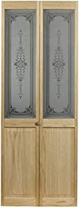 """LTL Home Products 830730 Burgundy Half Glass Bifold Interior Solid Wood Door, 36""""X80"""", Unfinished"""