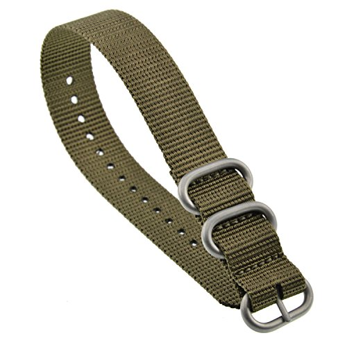 MZBUTIQ Men's Watch Band Strap Replacement 3 Rings (18mm 19mm 20mm 21mm 22mm 23mm 24mm)