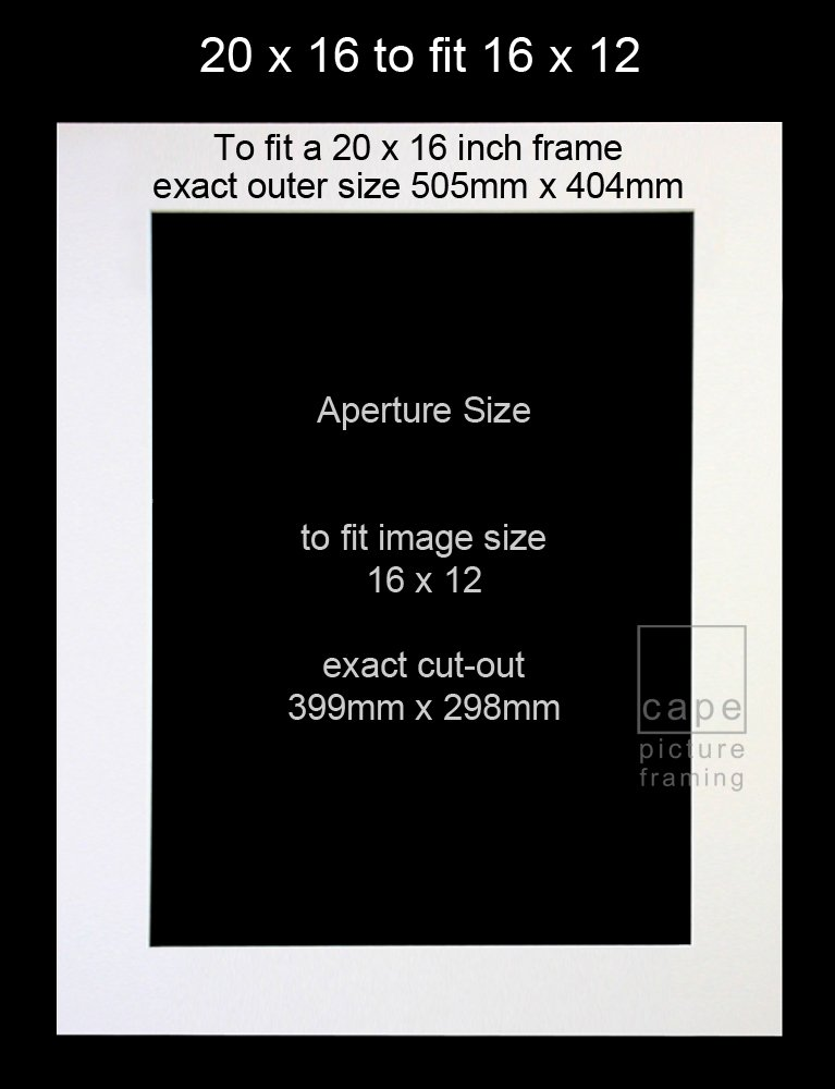 Pack of 1 (single) Picture Mount, 20 x 16 to fit 16 x 12, Black ...