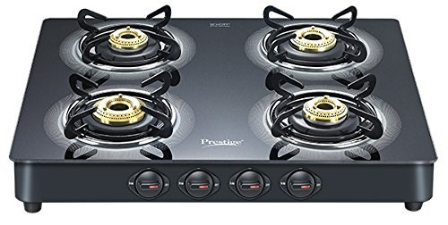 Prestige Royale Plus Aluminum 4 Burner Gas Stove, Black (40278)