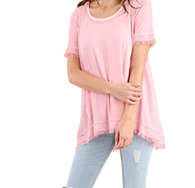 33a5b57a21c3a Umgee USA Womens Washed Short Sleeve Top with Frayed Detail-Petal Pink-Small