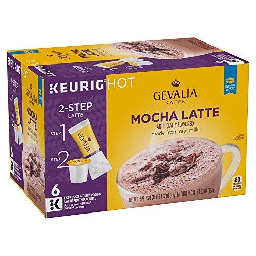 Gevalia Mocha Latte Espresso Coffee with Froth Packets, K-Cup Pods, 6 Count (Pack of 6), 4.33 oz 2 Mocha Cups
