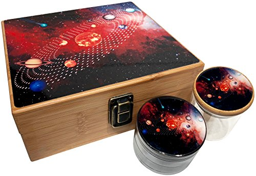 - Solar System Stash Box Combo - Includes Large 4 Part Herb Grinder with pollen catcher and Stash Jar and Rolling Tray - Wood Stash Boxes (Solar System)