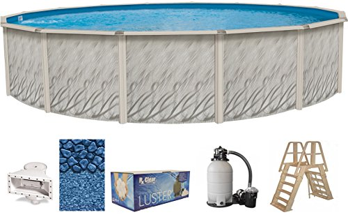 Meadows 18-Foot-by-52-Inch Round Above-Ground Swimming Pool Complete Bundle Kit | Boulder Swirl Pattern Overlap Liner | A-Frame Ladder System | Filter Tank | 1-HP Pump | Wide-Mouth Skimmer by Wilbar