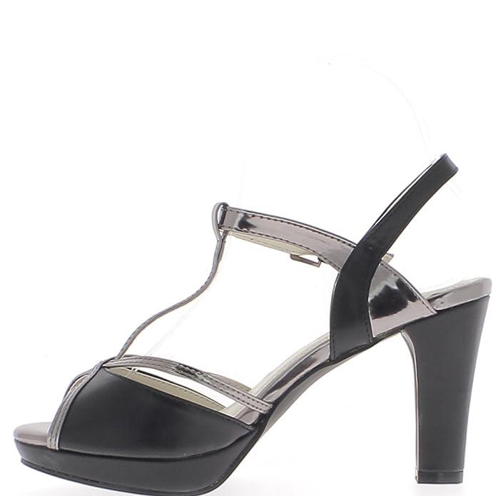 ChaussMoi Schwarze Sandalen Dicken Absatz 9, 5cm-Plattform mit Feinen  Silbernen Schellen - 41: Amazon.de: Schuhe & Handtaschen