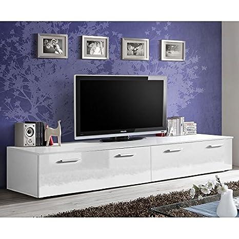 Paris Prix Meuble Tv Design Duo 200cm Blanc Amazon Fr