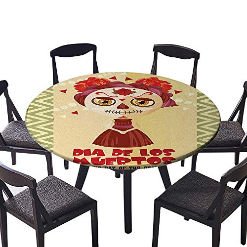Round Premium Tablecloth The Dead Spanish Dia de Los Muertos Print Girl with Gothic Makeup Stain Resistant 40