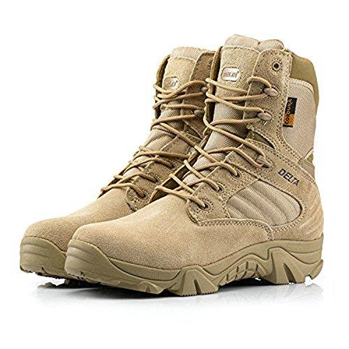 Botas para actividades al aire libre, para hombre, estilo militar, con cordones, transpirables, caña alta, cremallera lateral, piel, color caqui y marrón