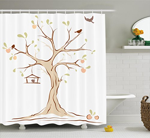 Ambesonne Tree Of Life Decor Shower Curtain Set, Illustration Of Mature Apple Tree With Fying Birds And The Nest Fruit Family Decorative, Bathroom Accessories, 69W X 70L Inches, (Birds Nest Tree)
