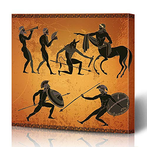 Ahawoso Canvas Prints Wall Art 16x16 Inches Greece Myth Ancient Scene Mythology Centaur Amphora Greek Pottery Antique Archeology Athens Design Decor for Living Room Office Bedroom