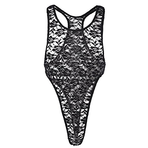 FYMNSI Sissy Mens Floral Lace High Cut Thong Leotard Bodysuit Wrestling Singlet One Piece Jumpsuit Lingerie Underwear Black ()
