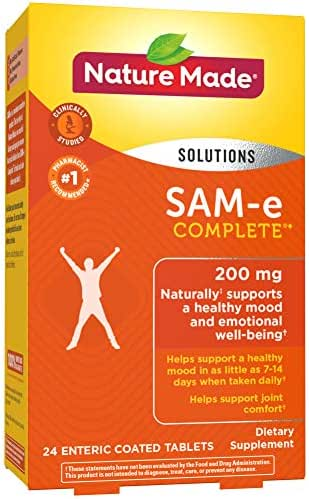 Nature Made SAM-e Complete 200 mg Tablets, 24 Count for Supporting a Healthy Mood (Packaging May Vary)