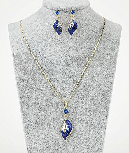NEOGLORY Conjunto Collar Pendientes Esmalte Azul Hipoalergénico Joya Original Regalo Mujer Chica