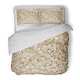 SanChic Duvet Cover Set Yellow Movie Popcorn Simple Entertainment White Closeup Decorative Bedding Set with 2 Pillow Shams Full/Queen Size