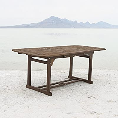 WE Furniture Solid Acacia Wood Patio Extendable Dining Table - Acacia hardwood construction Exposure to extreme temperatures not recommended Maintain its brand new look by applying teak oil as needed - patio-tables, patio-furniture, patio - 514MEylgbbL. SS400  -