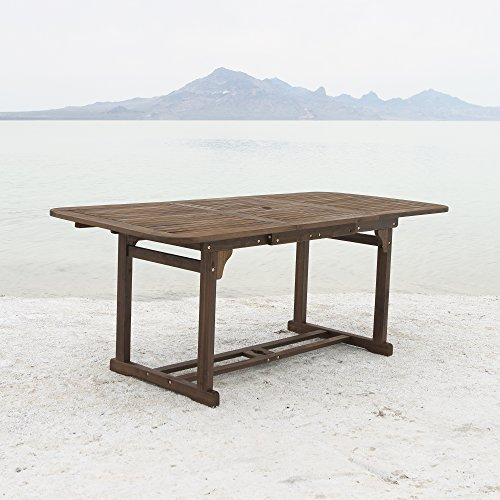 Cheap  WE Furniture Solid Acacia Wood Patio Extendable Dining Table