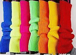 Ewandastore Candy Color Women 80s Winter Leg Warmers Knitted Wool Crochet Long Boot Socks Hot Pink