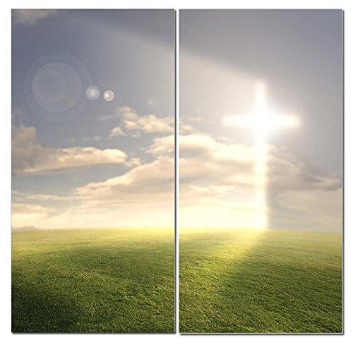 (Christian Canvas Wall Art Decor -12x24 2 Piece Set (Total 24x24 inch)- Religious Cross / Light of God - Decorative & Modern Multi Panel Split Print for Dining & Living)