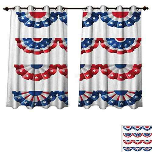 American Flag Blackout Thermal Backed Curtains for Living Room Flag Round Bunting Election Ornament Politic Union Ribbon Event Pattern Print Window Curtain Fabric Blue Red W63 x L72 ()